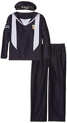 Smiffys, Herren Marine Matrose Kostüm, Mütze, Oberteil und Hose, Größe: L, (Kostüm Marine Matrosen)