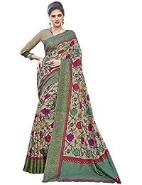 Ethnicfashionista Women's Bhagalpuri Silk Saree Green