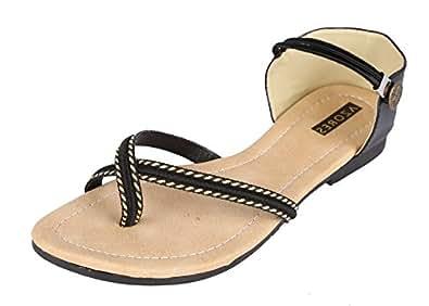 Azores Womens' Black Flat Sandals - 9