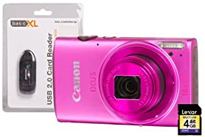 Canon IXUS 255 HS Camera Kit with 4GB SD Card and Card Reader - Pink