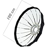 Cablematic–Parabólica Softbox 100cm blanca con rejilla de nido de abeja y 16varillas para la iluminación Studio
