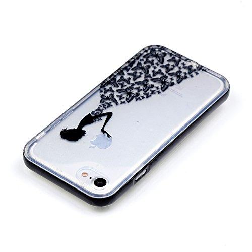 iPhone 8 Silikon Hülle, iPhone 7 Silikon Hülle, BONROY® TPU Schutzhülle für iPhone 8 / iPhone 7 Silikon Handyhülle Case Cover,TPU Case Helle Schale Painted Handytasche Weiche Zurück Tasche Etui Bumper Schmetterlings-Mädchen