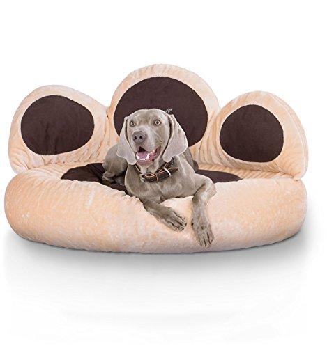 hundeinfo24.de Knuffelwuff 12751 Pfoten Hundebett Luena – Größe S – M, 80 cm, beige