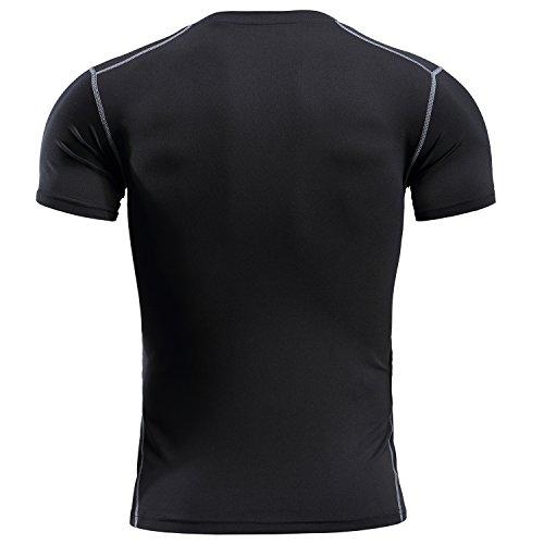 YCX Herren Leichtes Crewneck Kurzarm Cool Dry Kontrast Farbe Sport Kompression T-Shirt Schwarz7