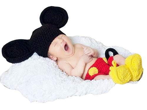 geborenes Baby Häkeln Kostüm Outfits Fotografie Requisiten Nette Mickey Mouse Hut+Hose+Schuhe 0-3 Monate ()
