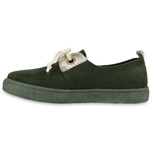 Damen Sneakers Metallic Sportschuhe Freizeit Schuhe Schnürer Dunkelgrün