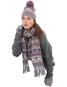 Fran para mujer Fairisle de punto Beanie hat-scarf-glove Juego de invierno