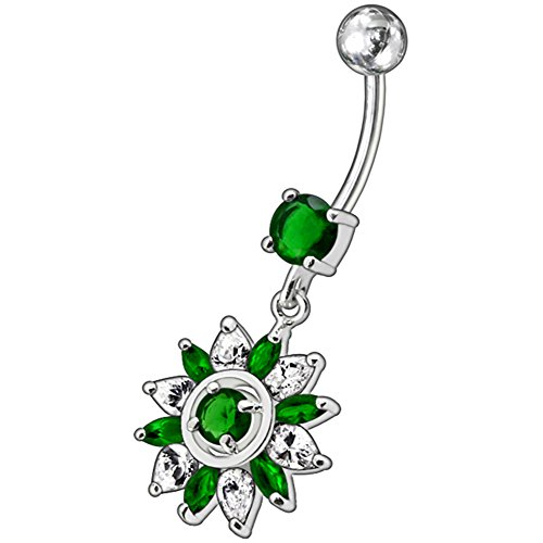 Barres de Pierre en cristal fleur Royal tendance Design 925 argent Sterling avec acier inoxydable ventre Dark Green