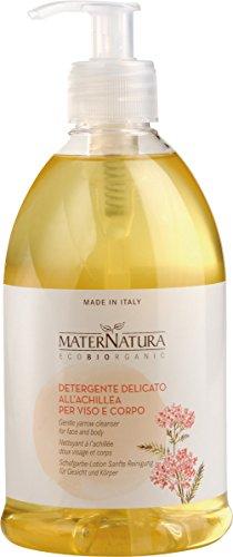 MATERNATURA - Detergente Delicato Viso Corpo all'Achillea 500 ml- Emulsione antiossidante e lenitiva - VEGAN