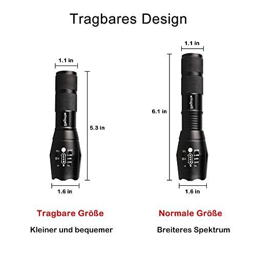 Bagotte LED Super Hell 1600 Lumen CREE T6 Taktische 5 Leuchtmodi, Zoombar Wasserfest Tragbare Taschenlampen mit Einstellbar Fokus für Wandern Camping Handlampe, Schwarz (2 Stück) - 6