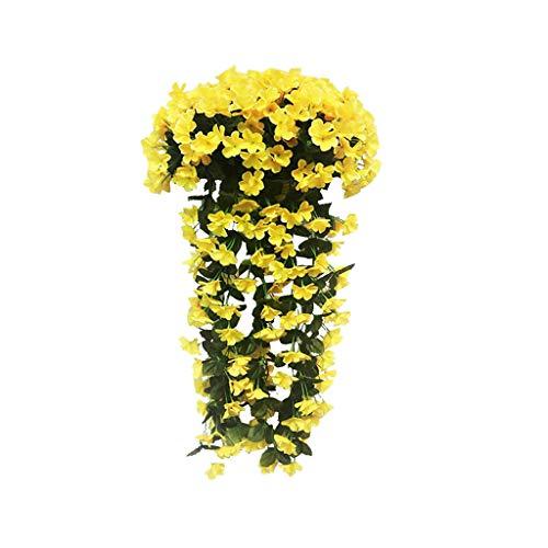 bloatboy 2PC Künstliche Violetten Blumenstrauß, Hof Klammer Pflanze Hängende Girlande Künstliche Glyzinien Rebe Blume Schleppend, für Hochzeiten, zu Hause, Garten, Party (Gelb)