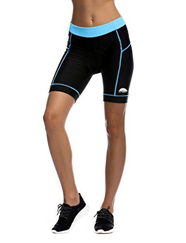 iCreat Damen Fahrradhose Radhose Kurz Radlerhose Radshort Sporthose mit Sitzpolster,blau,M