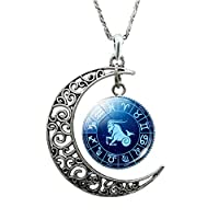HshDUti Unisex 12 Constellations Necklace Hollow Crescent Moon Faux Gem Augury Women Men Jewelry- Capricorn