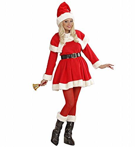 Widmann 15493 - Erwachsenenkostüm Luxus Miss Santa, Kleid, Gürtel, Mäntelchen, Stiefelbedeckung und Mütze, Größe ()