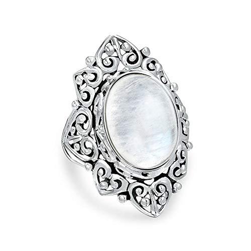 Filigranen Oval Regenbogen Natürliche Edelstein Mode Statement Voller Finger Mondstein Ringe Band Sterling Silber (Kostüm Schmuck Ringe Größe 10)