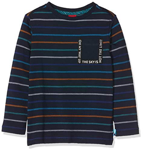 s.Oliver Jungen 63.908.31.8743 Langarmshirt, Blau (Dark Blue Knitted Stripes 59G6), ((Herstellergröße:104/110/REG)