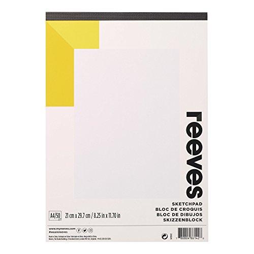 Reeves 8490943 Skizzen & Zeichenblock, 50 Blatt Zeichenpapier, säurefrei weißes Papier 150 g/m² -...