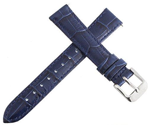 Ice Tek Damen blau echt Leder Uhrenarmband silber Ton Schnalle 16mm