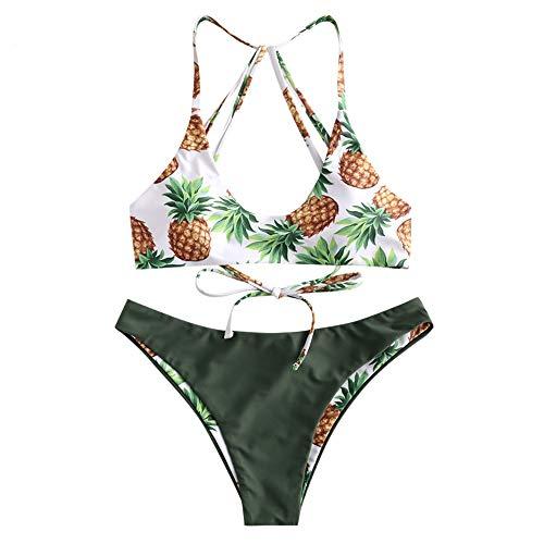 ZAFUL zweiteilig Bikini-Set mit verstellbarem BH & Rückengurt Design, wendebare Triangle Badehose mit Ananasmuster (Grün, M)