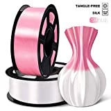 SUNLU 3D Filament 1.75, Shiny Silk PLA Filament 1.75mm, 2KG PLA Filament 0.02mm for 3D Printer 3D Pens,White + Pink