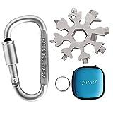 Awroutdoor18-in-1 Multi-Tool Snowflake Multi attrezzo Multi attrezzo in acciaio portatile per viaggi in campeggio Con moschettone (argento)
