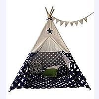 TAHRH teepee tent for kids,Indoor climbing boy baby toy, 3-7 years old blue double indoor cabin @blue,for Indoor Outdoor Gift
