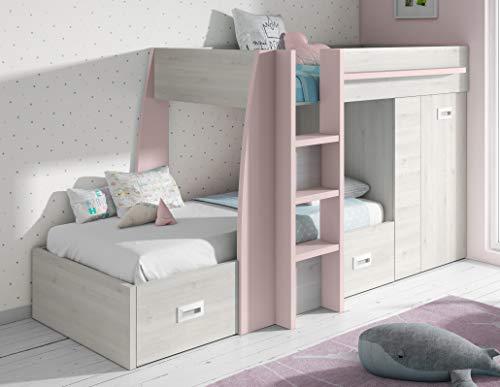 Miroytengo Cama litera Infantil Dormitorio diseño Original Forma Tren Color Rosa y Blanco con cajones y Armario 151x273x117 cm 90x190 cm