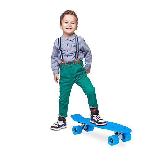 Relaxdays Kinder Einfarbig 22 Zoll Komplettboard Skateboard, Blau, One size (Einfarbiges Deck)