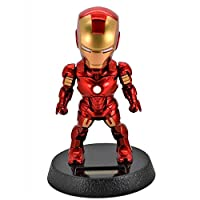 5-Inch Iron Man Solar Powered Bobble-Head Action Relaxation Toy For Car Home Office -mz2949