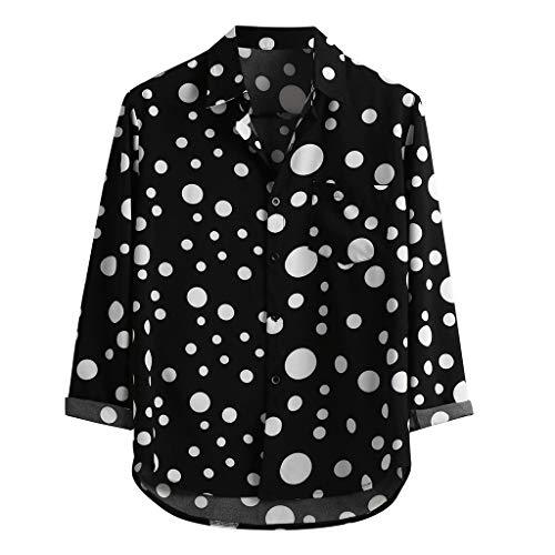 SoonerQuicker Camisas de Hombre Blusa Superior con Estampado de Lunares de Manga Larga Informal Suelta para hombreT Shirt tee(Negro L)