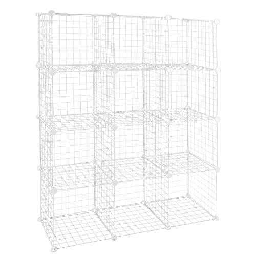 PrimeMatik - Armario Organizador Modular Estanterías de 12 Cubos de 35x35cm Metal Blanco