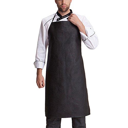 iKulilky Herren Wasserdichte Leder Arbeit Schürzen Grillschürze Kochschürze Küchenchef Schürze für Frauen, schwarz Heavy Duty BBQ Schürze -