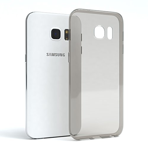 "EAZY CASE Handyhülle für Samsung Galaxy S7 Hülle - Premium Handy Schutzhülle Slimcover ""Brushed"" Aluminium Design - TPU Silikon Backcover in brushed Hellblau Clear Hellgrau"