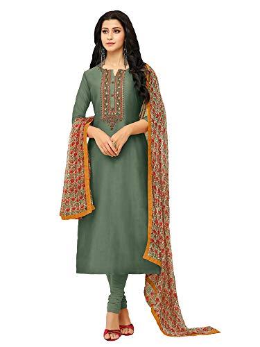 AKHILAM Women\'s Embroidered Chanderi Cotton Semi-Stitched Chudidar Salwar Suit Dress Material with Chiffon Dupatta (Green_Free Size)