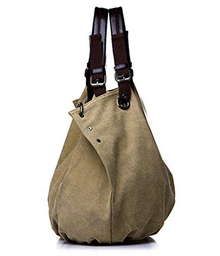 ERGEOB Damen Canvas Schultertasche groß Handtaschen schwarz 02 kaffee