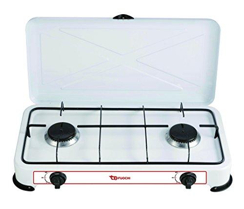 XONE Fornello a gas GPL 2 fuochi, struttura in acciaio smaltato di colore bianco, Consumo...
