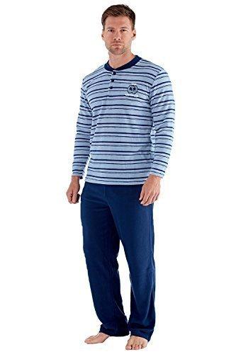 Harvey James Herren Luxus weich gestreift Pyjama Set Blaue Streifen