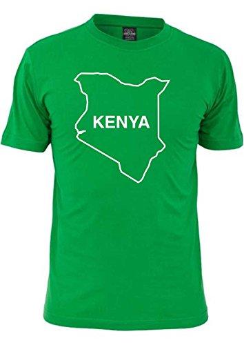 T-Shirt Ländershirt Kenia mit Landkarte - Brustaufdruck Grün