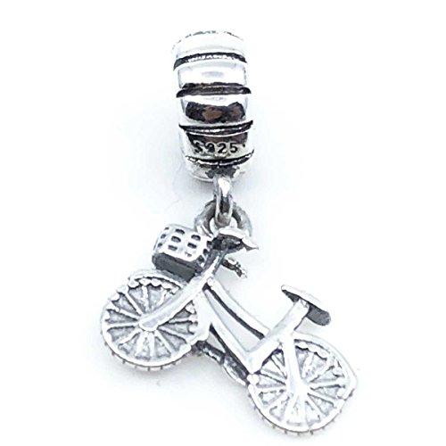 Charms 100% in argento sterling 925per braccialetti per charms tipo pandora, chamilia, biagi, swarovski. perline beads dijes charm ciondolo argento, argento, colore: bicicletta, cod. abalorio plata tipo pandora charms