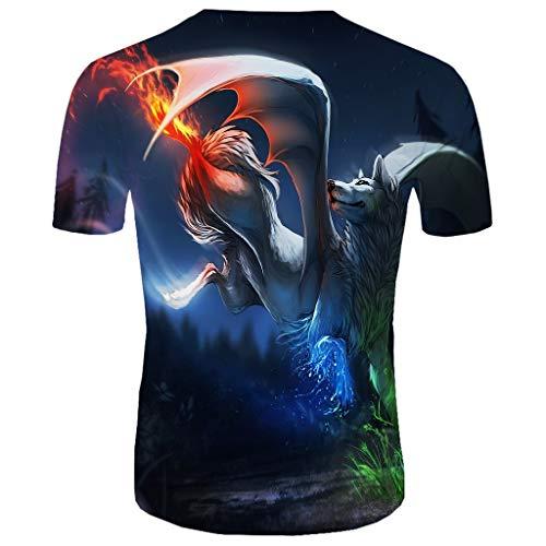 ODRD Herren T Shirts, Oversize Tops Herren New Summer T-Shirt mit Rundhalsausschnitt Kurzarm Blue Flame 3D Printed Top Shortsleeve Basic Shirt -