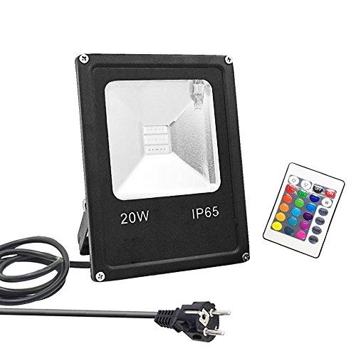 GLW 20W RGB Fluter mit Fernbedienung,Außenleuchten Wasserdicht IP65,Farbwechsel LED Flutlicht,4 Modi 16 Farben,Memory-Funktion LED Strahler,Garten Deko Beleuchtung,Gartenleuchte Projektor,Europäischer Stecker