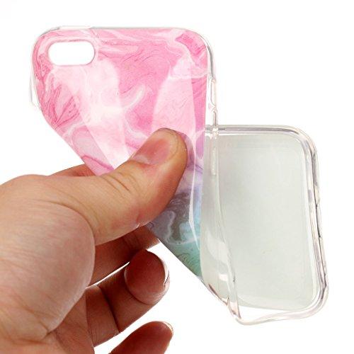iPhone 5C Hülle AllDo Marmor Muster Design Etui Weiche TPU Gel Hülle Glatte Flexibel Etui Leichte Schlanke Handyhülle Dünne Schutzhülle Smooth Soft Case Cover Anti-Kratz Anti-stoß Schützende Funtion S Rosa&Cyan