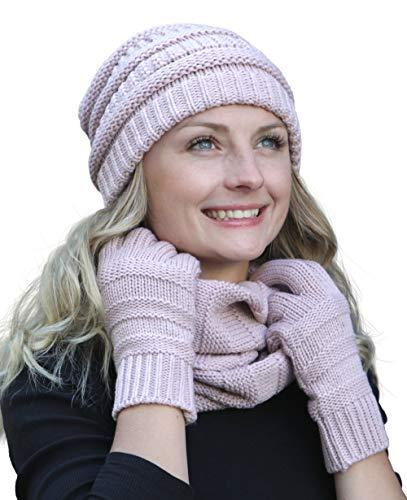 Hilltop Winter Set aus Loop-Schal, Strickmütze und Handschuhen/Beanie mit Öffnung für den Zopf, Winter Set:Altrosa -