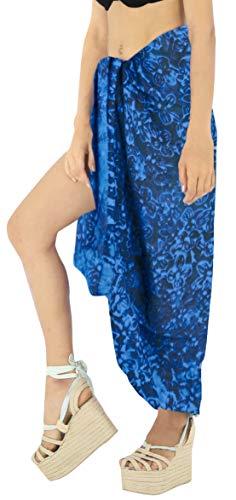LA LEELA one Size Frauenstrandbadebekleidung Badeanzug Bikini Rock Sarong Wickeln blau türkis