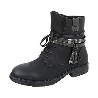 Schnürstiefeletten Damen-Schuhe Schnürstiefeletten Blockabsatz Schnürer Reißverschluss Ital-Design Stiefeletten Schwarz, Gr 38, Bh52-Kb-