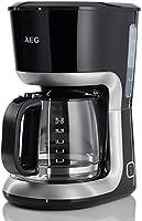 AEG PerfectMorning Filter-Kaffeemaschine KF3300 (1,5 l Aroma-Glaskanne, Antitropf-Ventil, 40 Min. Warmhaltefunktion, antihaftbeschichteter Warmhalteplatte, Abschaltautomatik, BPA-frei, 1080 Wat,) Schwarz/Silber