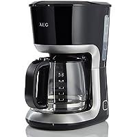 AEG KF3300 Perfect Morning Kaffeemaschine (Aroma-Glaskanne 1,5 Liter, Warmhaltefunktion, antihaftbeschichteteWarmhalteplatte, Abschaltautomatik, Antitropf-Ventil, Wasserstandsanzeige rechts außen, EntnehmbarerFilter-Korb, Kabelaufwicklung) Schwarz / Silber