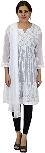Aks Lucknow handcrafted Women's Regular Fit white color Kurti with Lucknowi Chikankari Handmade Net Jaali all over Work kali style on Neck and Border Machine Aari Chikan Embroidered Pure Cotton/georgette Straight Lacknavi Chikan Kurti Kurta from Lucknow  available at amazon for Rs.795