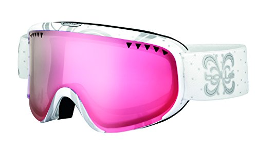 Bollé Damen Skibrille Scarlett Shiny White Night/Vermillon Gun, S/M