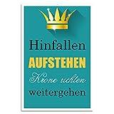 Cuadros Lifestyle Wanddekoration Blechschild 'Hinfallen aufstehen Krone richten weitergehen', Größe:ca. 30x45 cm